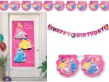 "Party Deko Set : 3-tlg.  Happy Birthday Kette, XXL-Poster, Fahnenkette "" Disney Prinzessinn"