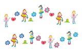 """Mini Wandfiguren  24-tlg. Schaumstoff  """"Mädchen"""" Zizazou"""