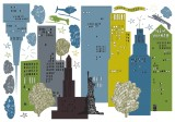 Wandtattos  City Skyline  70 x100 cm selbstklebend