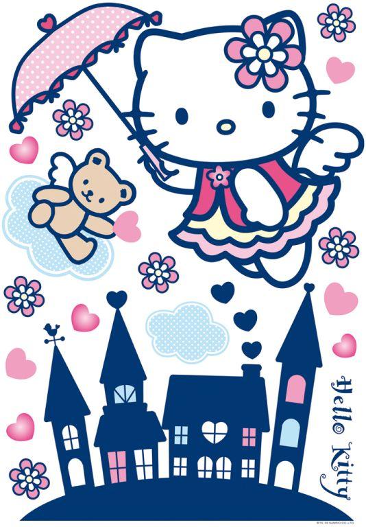 wandtattoo xxl sticker hello kitty wandaufkleber decofun m dchenzimmer 17tlg ebay. Black Bedroom Furniture Sets. Home Design Ideas