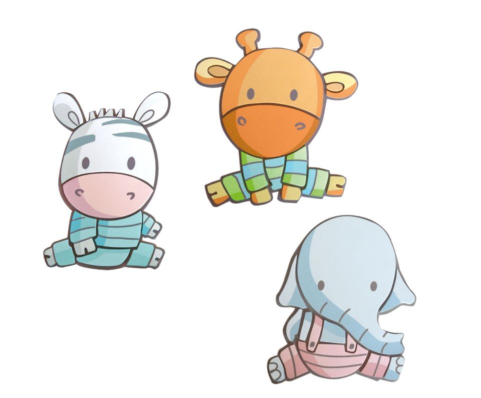 Wandbild baby zootiere 3 wandaufkleber moosgummi decofun - Wandaufkleber baby ...
